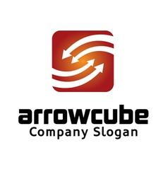 Arrow cube logo vector