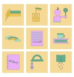 assembly flat icons school lessons vector image