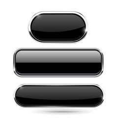 black set of buttons with chrome frame vector image
