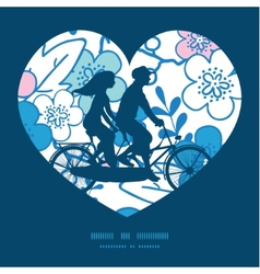 blue and pink kimono blossoms couple on vector image