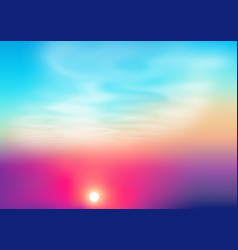 bright colors sunset background with sun vector image