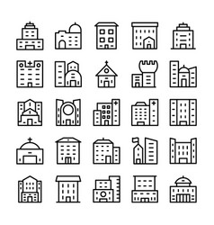 Buildings landmarks line icons 12 vector
