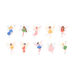 bundle funny gorgeous fairies in different vector image
