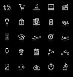 Business connection line icons with reflect on vector image