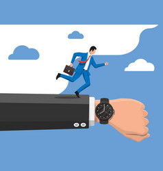 businessman and wrist watch on hand vector image