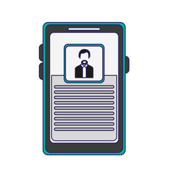 Businessman profile on smartphone screen blue vector