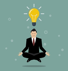 Businessman thinking during meditation vector