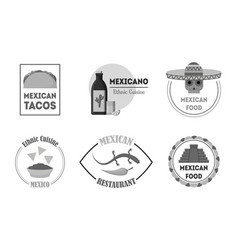 Cartoon silhouette black mexican food badges or vector
