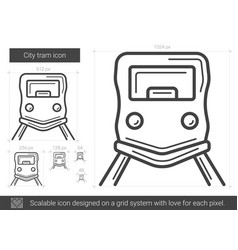 City tram line icon vector