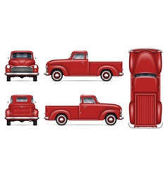 Classic red pickup truck mockup vector