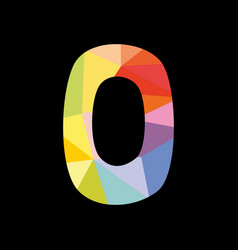 colorful number 0 isolated on black background vector image