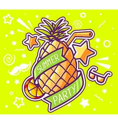 colorful yellow pineapple with ribbon and vector image