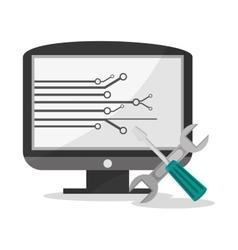 Computer and social media design vector image