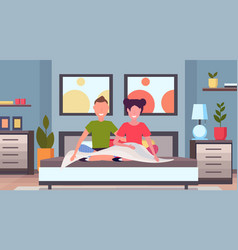 couple waking up in the morning man woman lovers vector image