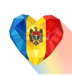Crystal gem jewelry moldavian heart with the flag vector