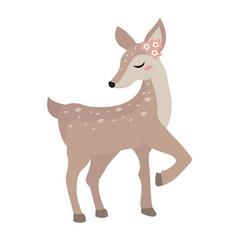 Cute deer icon flat cartoon style vector