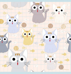 cute funny cat seamless pattern vector image