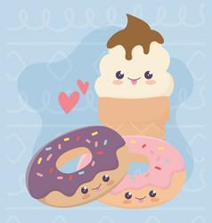 Cute sweet donuts and ice cream kawaii cartoon vector