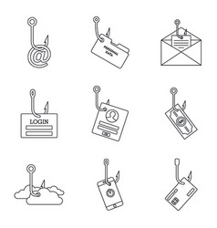 cyber phishing icon set outline style vector image