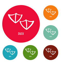 duck step icons circle set vector image