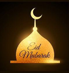 Eid mubarak muslims festival with golden mosque vector