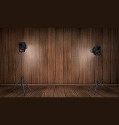 empty interior wooden studio with lamps vector image