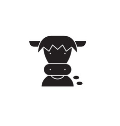 farm cow head black concept icon farm cow vector image