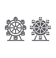 ferris wheel line and glyph icon funfair and vector image