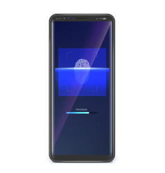 fingerprint scan on smartphone screen concept of vector image