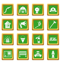 Fireman tools icons set green vector