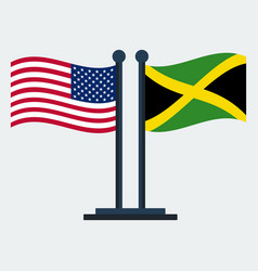 Flag of united states and jamaicaflag stand vector