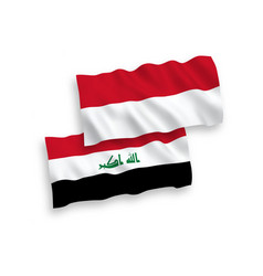 Flags indonesia and iraq on a white background vector