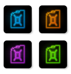 Glowing neon canister for gasoline icon isolated vector