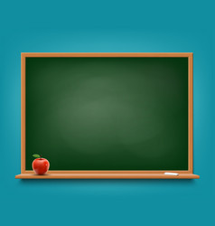 green chalkboard with chalk and red apple vector image