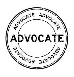 Grunge black advocate word round rubber seal vector