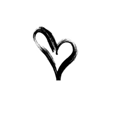 Hand drawn heart Ink calligraphy vector image