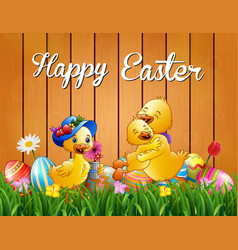 happy easter duck family on the grass vector image