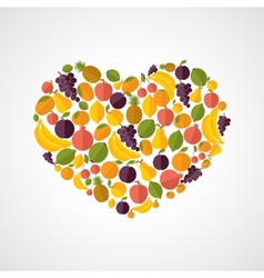Healthy food heart composition vector