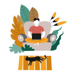 Homework freelance or distant work man on couch vector