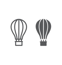 hot air ballon line and glyph icon travel and vector image