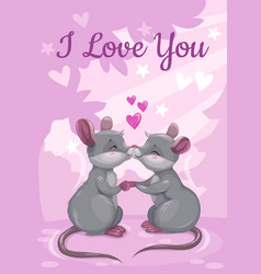 i love you cute valentines day greeting card with vector image