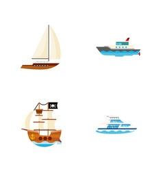 icon flat ship set of pirate yacht ship and vector image