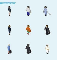 Isometric person set of detective seaman vector