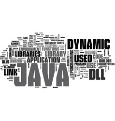 Java dll text background word cloud concept vector