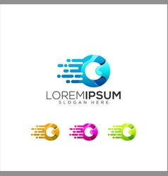 letter o colorful logo design vector image