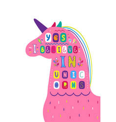 Lettering children poster i believe in unicorn vector