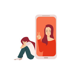 Lonely girl and woman supports her flat vector