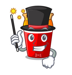 Magician fried chicken bucket isolated on mascot vector