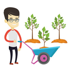 Man pushing wheelbarrow with plant vector