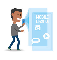 Man with smartphone in the hand and technological vector